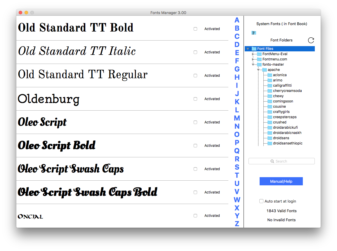 Fonts Manager 3 - Display & Activate your Fonts by File or Full Folders Image